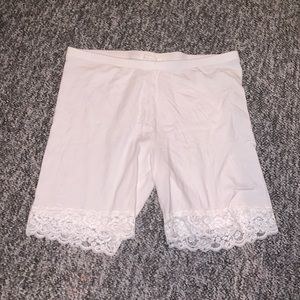 Forever 21 Plus White Lace-Trim Bike Shorts
